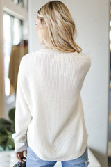 Cable Knit Sweater in Ivory Back View