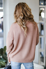 Cable Knit Sweater in Mauve Back View