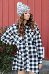 Black - Oversized Buffalo Plaid Flannel from Dress Up