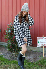 Black - Oversized Buffalo Plaid Flannel Front View
