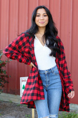 Red - Model wearing an Oversized Buffalo Plaid Flannel with jeans