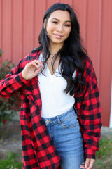 Red - Dress Up model wearing an Oversized Buffalo Plaid Flannel with jeans