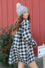 Oversized Buffalo Plaid Flannel in Black Side View