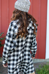 Oversized Buffalo Plaid Flannel in Black Back View
