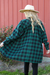 Oversized Buffalo Plaid Flannel in Hunter Green Back View