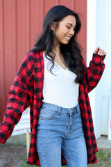 Oversized Buffalo Plaid Flannel in Red Side View