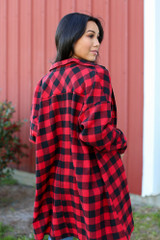 Oversized Buffalo Plaid Flannel in Red Back View