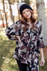 Camo - Oversized Brushed Knit Poncho