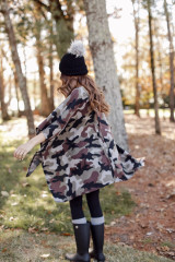 Oversized Brushed Knit Camo Poncho Back View
