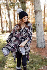 Oversized Brushed Knit Camo Poncho Side View