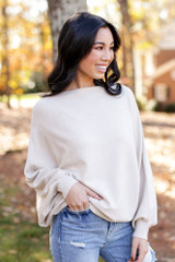 Oversized Soft Knit Sweater in Taupe Side View