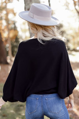 Oversized Soft Knit Sweater in Black Back View