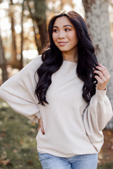 Taupe - Model wearing an Oversized Soft Knit Sweater