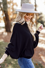 Oversized Soft Knit Sweater in Black Side View