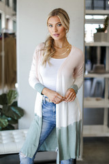 Blush - Brushed Knit Color Block Cardigan