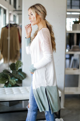 Brushed Knit Color Block Cardigan Side View