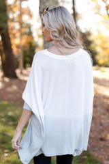 Oversized Brushed Knit Ombre Top Back View