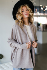 Taupe - Soft Knit Cardigan Front View