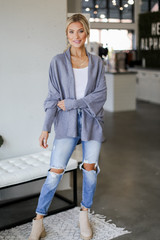 Soft Knit Cardigan in Denim Front View