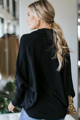 Soft Knit Cardigan in Black Back View