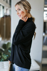 Soft Knit Cardigan in Black Side View
