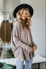Soft Knit Cardigan in Taupe Side View