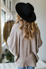Soft Knit Cardigan in Taupe Back View