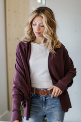 Soft Knit Cardigan in Burgundy Front View