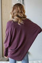 Soft Knit Cardigan in Burgundy Back View