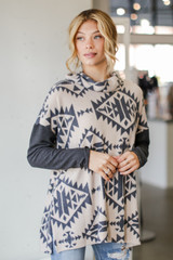 Charcoal - Oversized Brushed Knit Aztec Sweater