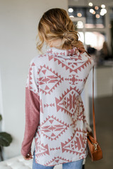 Oversized Brushed Knit Aztec Sweater in Marsala Back View