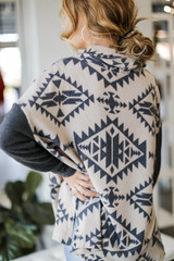 Oversized Brushed Knit Aztec Sweater in Charcoal Back View