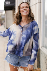 Grey - Tie-Dye Brushed Waffle Knit Top from Dress Up
