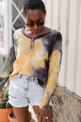 Olive - Dress Up model wearing a Tie-Dye Brushed Waffle Knit Top