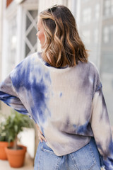 Tie-Dye Brushed Waffle Knit Top in Grey Back View