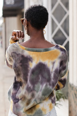 Tie-Dye Brushed Waffle Knit Top in Olive Back View