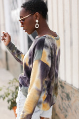 Tie-Dye Brushed Waffle Knit Top in Olive Side View