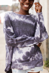 Black - Oversized Tie-Dye Pullover from Dress Up
