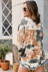 Oversized Tie-Dye Pullover in Green Back View