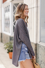 Loose Knit Cardigan in Charcoal Side View