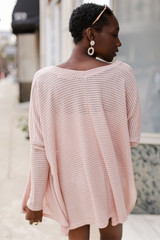 Loose Knit Cardigan in Blush Back View
