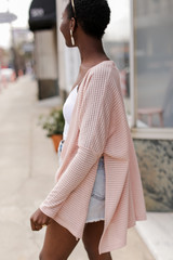 Loose Knit Cardigan in Blush Side View