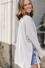 Loose Knit Cardigan in Grey Side View