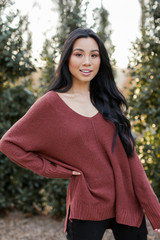Marsala - Oversized Knit Sweater Front View