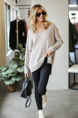 Taupe - Dress Up model wearing an Oversized Knit Sweater with leggings