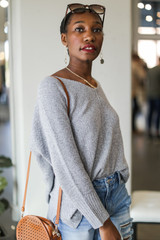 Oversized Knit Sweater in Heather Grey Side View
