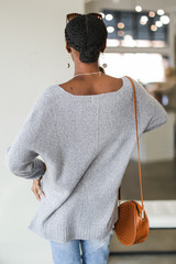 Oversized Knit Sweater in Heather Grey Back View