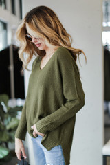Oversized Knit Sweater in Olive Side View