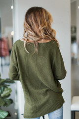 Oversized Knit Sweater in Olive Back View