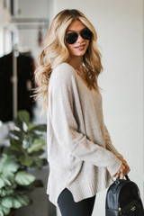 Oversized Knit Sweater in Taupe Side View